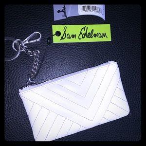 Sam Edelman white coin purse NEW